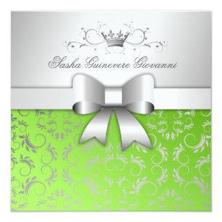 311-Silver blühen göttlicher Bogen Limones | Quadratische 13,3 Cm Einladungskarte