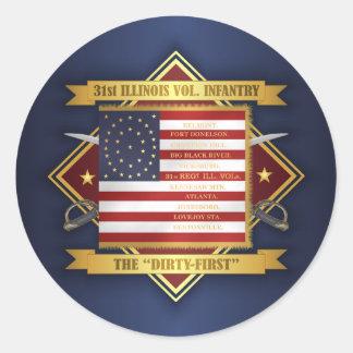 31. Freiwillige Infanterie Illinois Runder Aufkleber