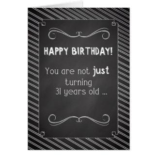 31 jähriges alles Gute zum Geburtstag, Tafel-Blick Grußkarte