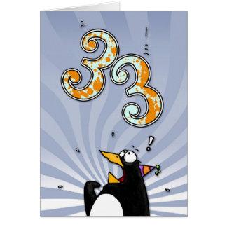 33. Geburtstag - Pinguin-Überraschungs-Karte Karte