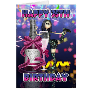 35. Geburtstags-Karte - Champagne-Flickenpuppe Karte