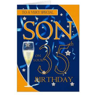 35. Geburtstags-Sohn - Champagne-Glas Karte