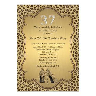 37., Geburtstags-Party 37., Cheetah-hohe Karte