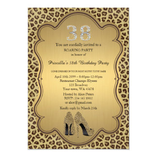 38., Geburtstags-Party 38., Cheetah-hohe Karte