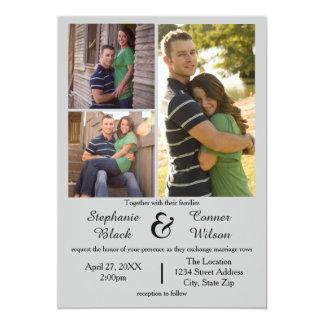3 Foto-Grau - Hochzeits-Einladung Karte