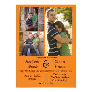 3 Foto-Orange - Hochzeits-Einladung Karte