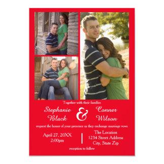 3 Foto-Rot - Hochzeits-Einladung 12,7 X 17,8 Cm Einladungskarte