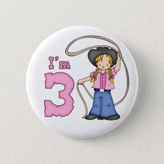 3. Geburtstag Cowgirl-Ropers Runder Button 5,1 Cm