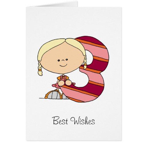 3. Geburtstag - Gruß-Karte - Mädchen