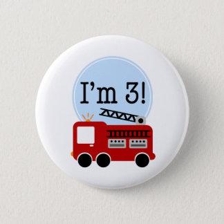 3. GeburtstagFiretruck Runder Button 5,7 Cm