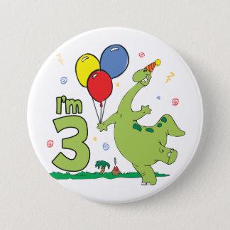 3. Geburtstags-Knopf Dino Runder Button 7,6 Cm