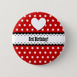 3. Geburtstags-Mädchen-Herz und ausgebogtes Band Runder Button 5,1 Cm