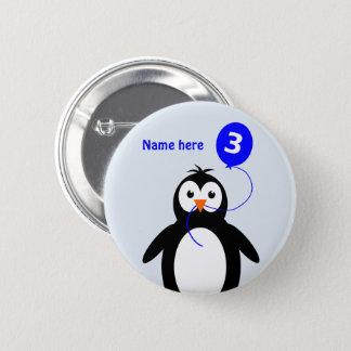 3. Geburtstags-Pinguin addieren Namensblau Runder Button 5,7 Cm