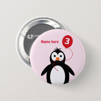 3. Geburtstags-Pinguin addieren Namensrosa Runder Button 5,1 Cm