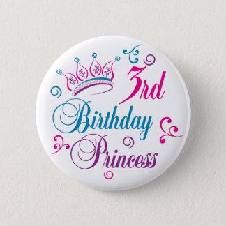 3. Geburtstags-Prinzessin Runder Button 5,1 Cm