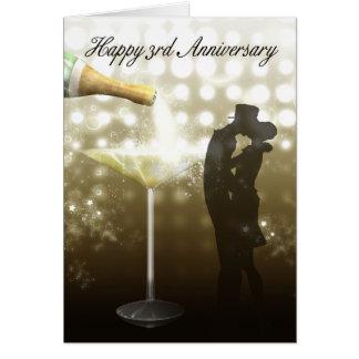 3. Jahrestag - Champagne Karte