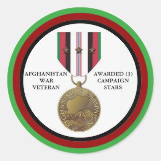 3 KAMPAGNEN-STERN-AFGHANISTAN-KRIEGSVETERAN RUNDER AUFKLEBER