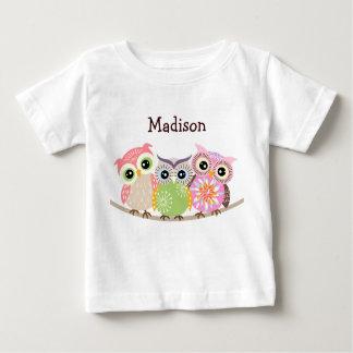 3 niedliche und bunte Eulen-Baby-T-Shirts Baby T-shirt
