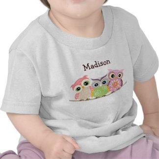 3 niedliche und bunte Eulen-Baby-T-Shirts