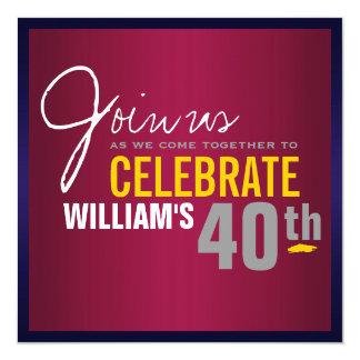 40. der Geburtstags-Einladung des Mannes Quadratische 13,3 Cm Einladungskarte