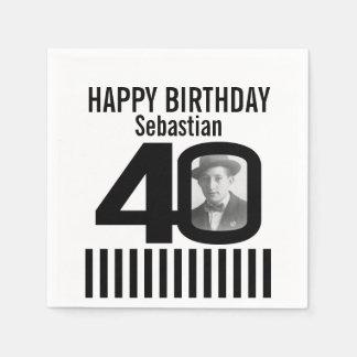 40. Geburtstags-Fotoschwarzstreifen-Fotoservietten Servietten