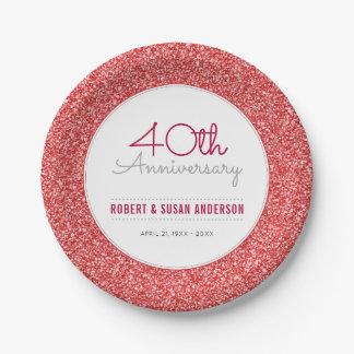 40. Hochzeits-Jahrestags-Imitat-Rot-Glitter Pappteller