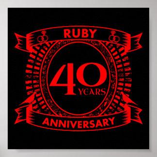 40. Hochzeitsjahrestags-Rubin-Wappen Poster