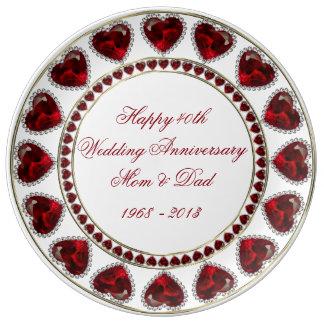 40. Hochzeitstag-Porzellan-Platte Porzellanteller