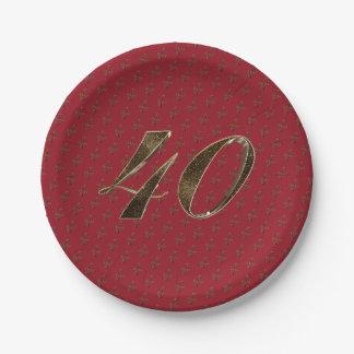 40. Jahrestags-karminrote Goldtypographie der Pappteller