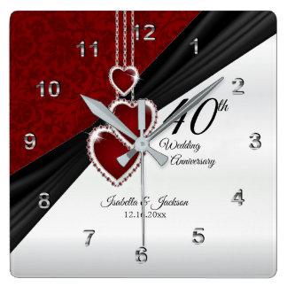 40. Karminrotes Hochzeitstag-Andenken Quadratische Wanduhr