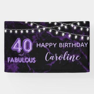 40 u. fabelhafter lila schwarzer Ballon beleuchtet Banner