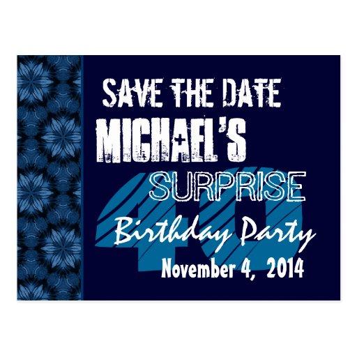 40. Überraschungs-Geburtstags-Save the Date blaues Postkarte