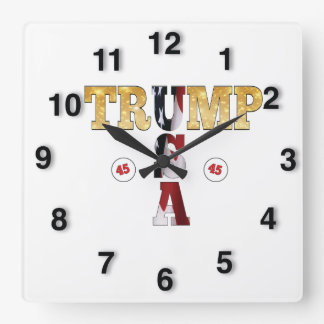 45 POTUS Trumpf USA-GoldGlitter-Flaggen-Farbe Quadratische Wanduhr