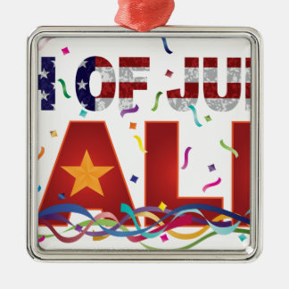 4. des Juli-Verkaufs-Textes mit US-FlaggeConfetti Quadratisches Silberfarbenes Ornament