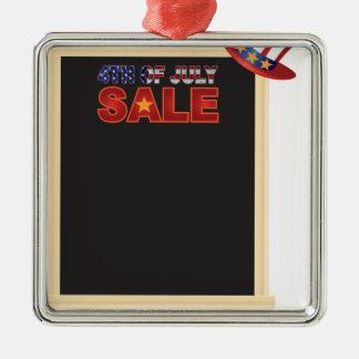 4. des Juli-VERKAUFS-Zeichenbrettes mit Quadratisches Silberfarbenes Ornament