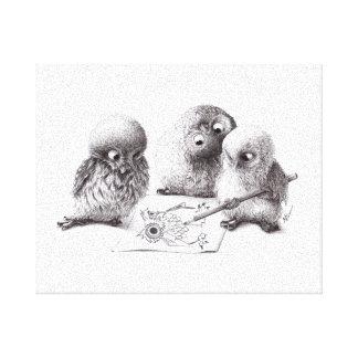 4 Funny Owls, 1 called Pablo print Gespannter Galeriedruck