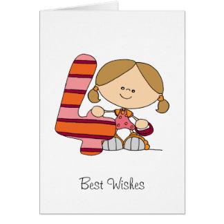 4. Geburtstag - Gruß-Karte - Mädchen