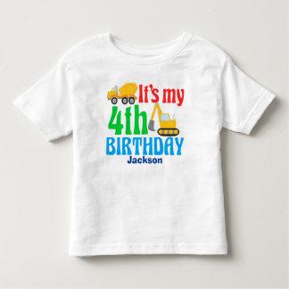 4. Geburtstag scherzt Bau-Fahrzeug-Party Kleinkind T-shirt