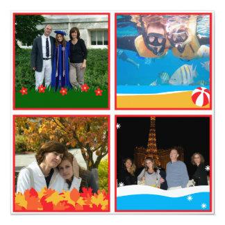 4 Jahreszeit-Foto-Rahmen-glückliche Karte
