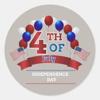 4. Juli Flaggen und Ballone Runder Aufkleber