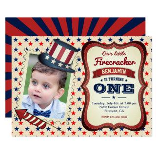 4. Juli-Kindervon der 1. Geburtstags-Party 12,7 X 17,8 Cm Einladungskarte
