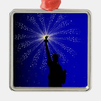 4. Juli Quadratisches Silberfarbenes Ornament