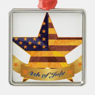 4. von Julifahne und -stern mit Quadratisches Silberfarbenes Ornament