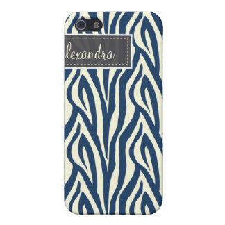 4 Zebra Pern (Marineblau) iPhone 5 Case