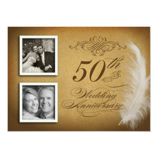 50. Foto der Jahrestags-lädt extravagantes Feder-2 14 X 19,5 Cm Einladungskarte