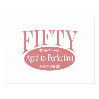 50. Geburtstag, fünfzig - gealtert zur Perfektion Postkarte