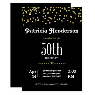 50. Geburtstag mit funkelndem Gold 12,7 X 17,8 Cm Einladungskarte