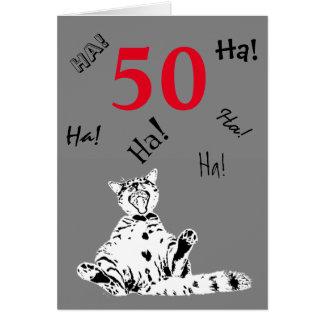 50. Geburtstags-alberne lachende lustige Katze Grußkarte