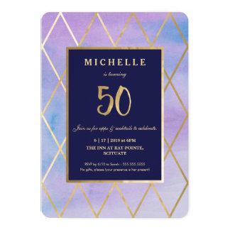 50. Geburtstags-Einladung - Gold, elegant, fünfzig 12,7 X 17,8 Cm Einladungskarte