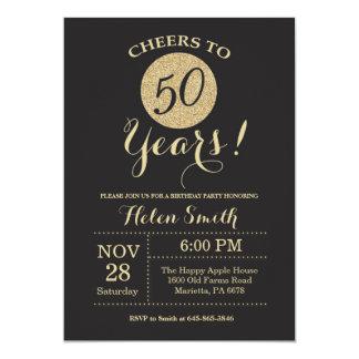 50. Geburtstags-Einladungs-Schwarzes und 12,7 X 17,8 Cm Einladungskarte